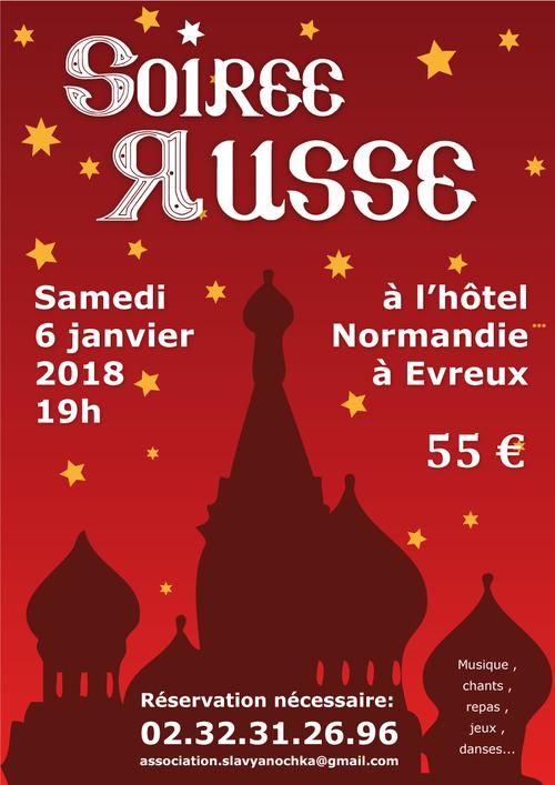 SOIREE RUSSE SAMEDI 6 Janvier 2018 à 19h