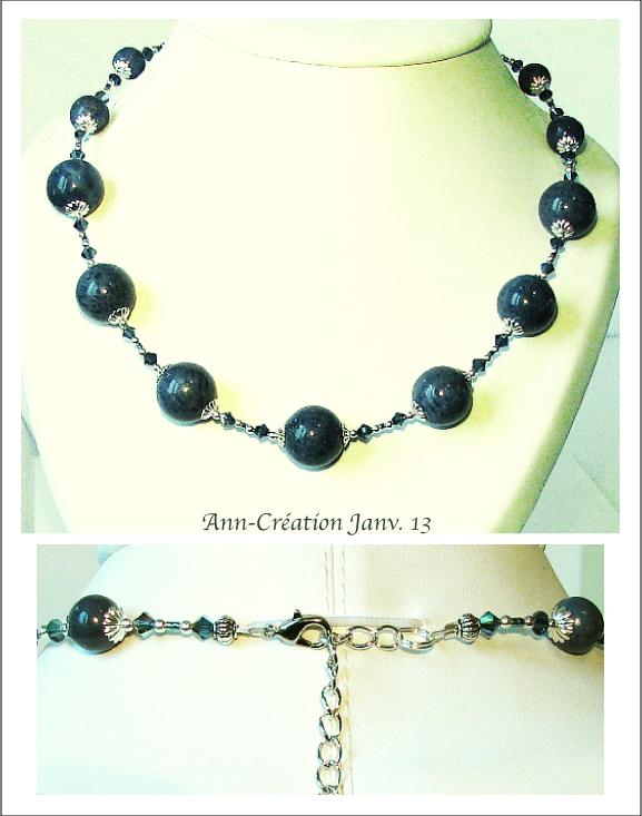 Collier Corail Bleu, Cristal de Swarovski / Plaqué Argent