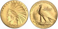 Les pièces en or de dix et vingt dollars des Etats-Unis
