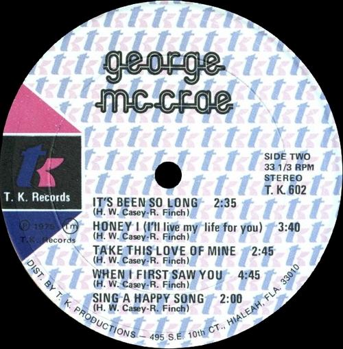 """George McCrae : Album """" George McCrae """" T.K. Records T.K.-602 [ US ]"""