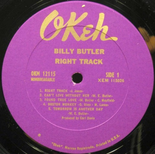 "Billy Butler & The Enchanters : Album "" Right Track "" Okeh Records OKM 12115 [ US ]"
