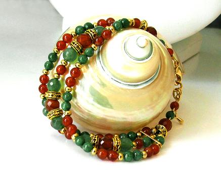 Bracelet 3 rangs rouge-orangé / vert, Pierre de Cornaline, Aventurine et Jade Vert