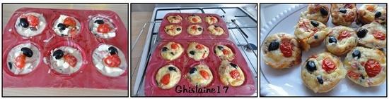 Muffins tomate, jambon, mozzarella, olive