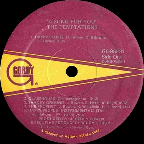 """The Temptations : Album """" A Song For You """" Gordy Records G6-969S1 [ US ]"""