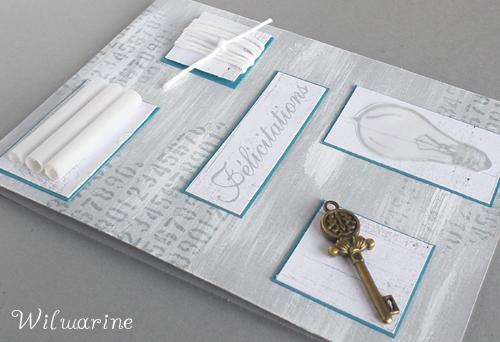 carte félicitations, blanc, gris, bleu, clé, ficelle, gesso