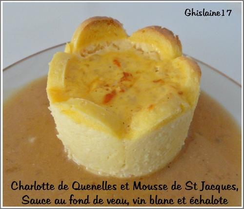 Charlotte de Quenelles et Mousse de St Jacques - Sauce au fond de veau, vin blanc et échalotes
