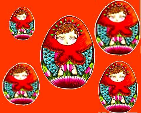 Joyeuses Pâques avec ses beaux symboles,  les cloches, l'agneau et les œufs