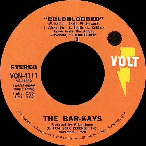 "The Bar-Kays : Album "" Coldblooded "" Volt Records VOS-9504 [ US ] en 1974"
