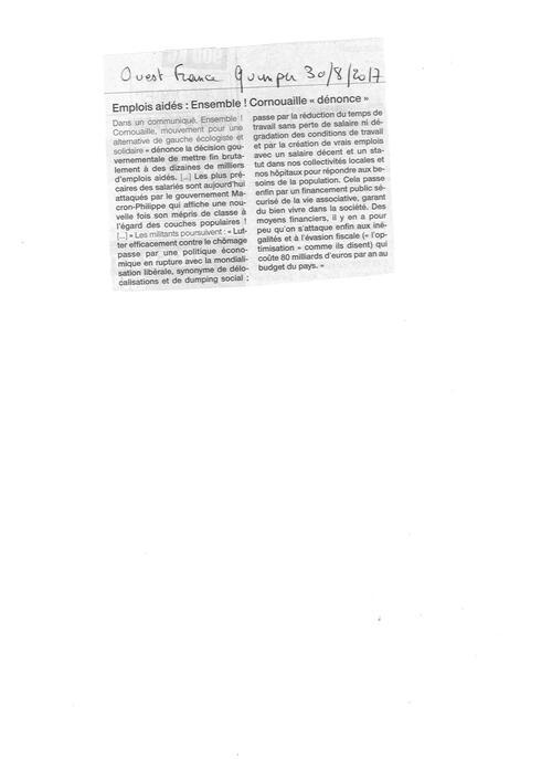 Communiqué d'Ensemble ! Cornouaille - EMPLOIS AIDES :  LE GOUVERNEMENT PREND AUX PAUVRES  POUR DONNER AUX RICHES