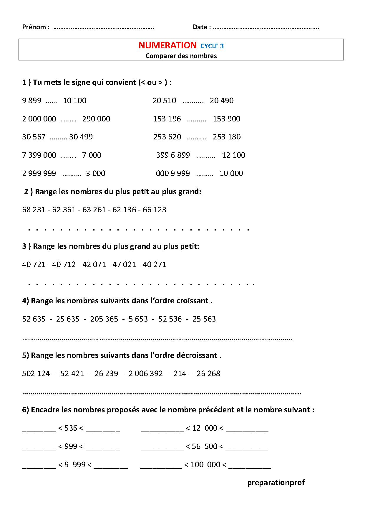 les grands nombres,exercices numération CE2,CM1,CM2,décomposer les nombres
