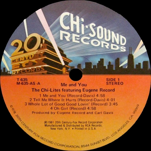 "The Chi-Lites : Album "" Me And You "" 20th Century Fox Chi Sound Records T-635 [ US ]"