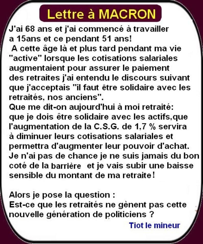Lettre d'un jeune retraité à Macron!