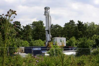 General view of the Cuadrilla hydraulic fracking drill site in Balcombe. Cuadrilla plans to start drilling a 3,000ft (914m) vertical well and a 2,500ft (762m) horizontal bore to the south of the village in search for oil and gas resources.