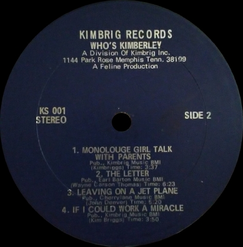 "Kimberley Briggs : Album "" Who's Kimberley ? "" Kimbrig Records KS001 [ US ]"
