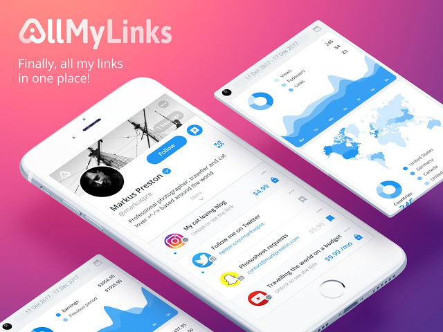 Create your AllMyLinks profile in seconds,100% free!