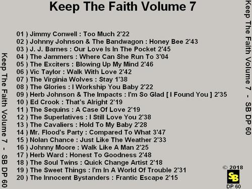 """Various Artists : CD """" Keep The Faith Volume 7 """" SB Records DP 60 [ FR ]"""