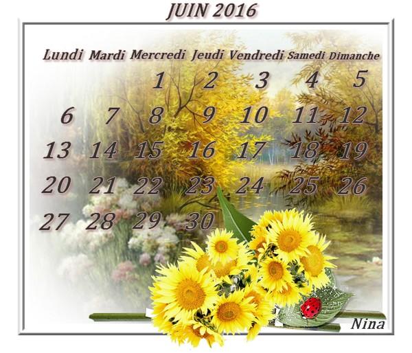 Calendrier de juin 2016