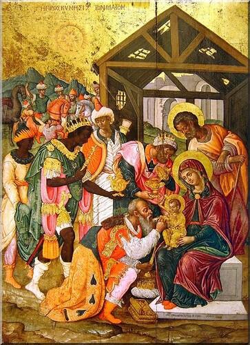 L'Épiphanie L'Adoration des Mages icône byzantine Athènes