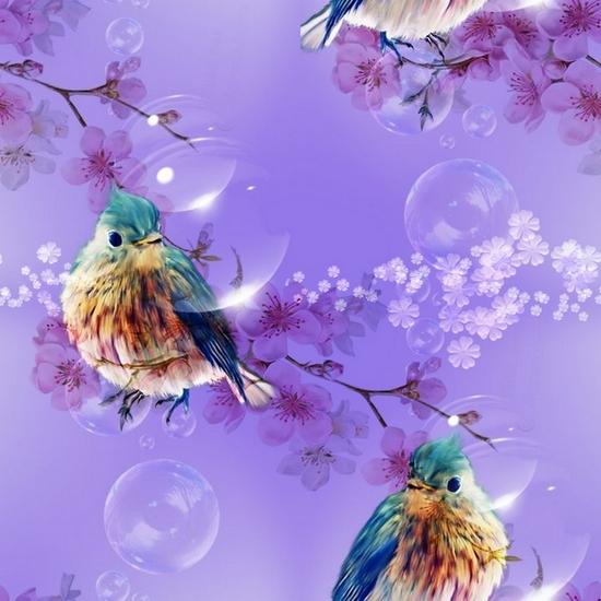 Textures sans bords printemps/été, oiseaux sur fond violet