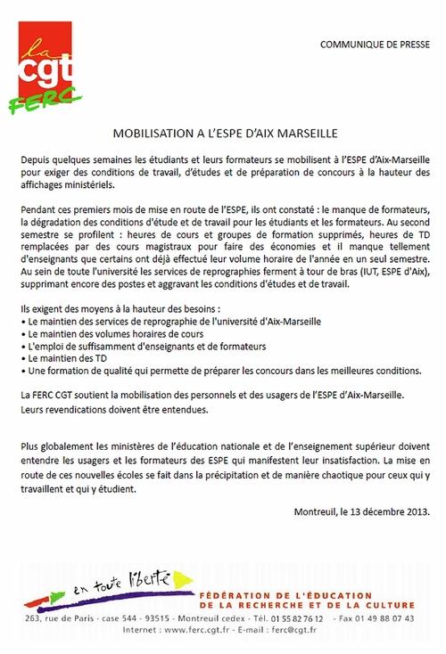 - Communiqué de presse CGT-FERC soutien à l'ESPE d'Aix Marseille