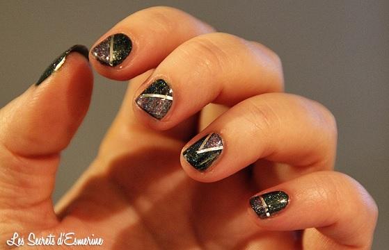 vernis, née jolie, nail art, géométrique, vert, violet, #na