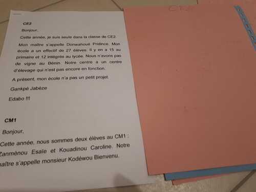 correspondance avec le Bénin