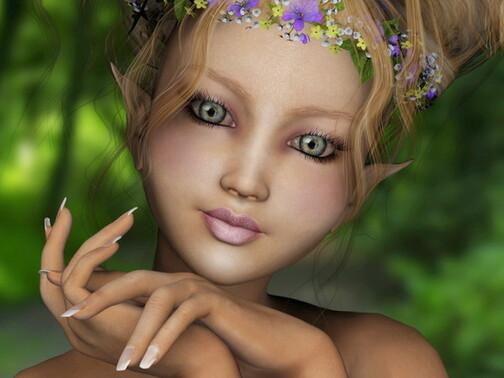 jolie elfe à la couronne de fleurs