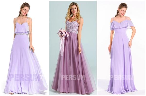 robe demoiselle d'honneur longue violette