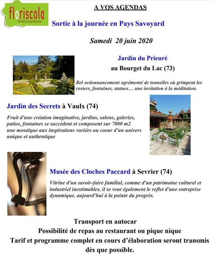 A vos agendas - Sortie du 20/6/2020 au Lac du Bourget