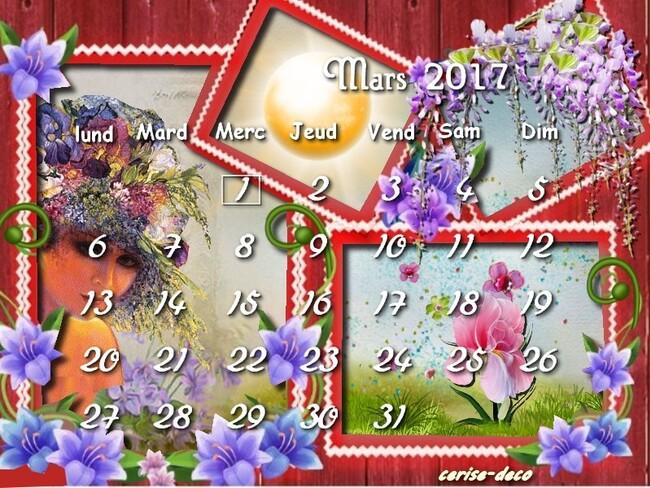 calendrier mars pour le défi de sissi