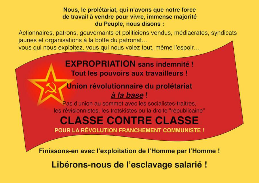 - Vive la résistance des Gilets Jaunes ! Pour une fusion des luttes vers la grève générale et l'insurrection !