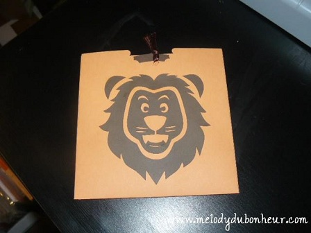Faire part thème lion orange et marron