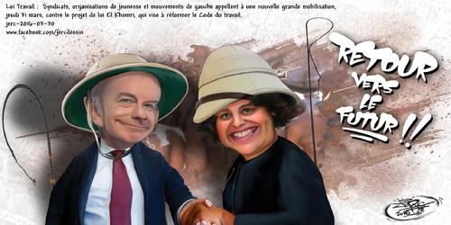 JERC 2016-03-30, caricature Myriam El Khomri, Pierre Gattaz . Marre de cette Valls de Khomri !! www.facebook.com/jercdessin Cliquer sur la photo pour voir en plus grand