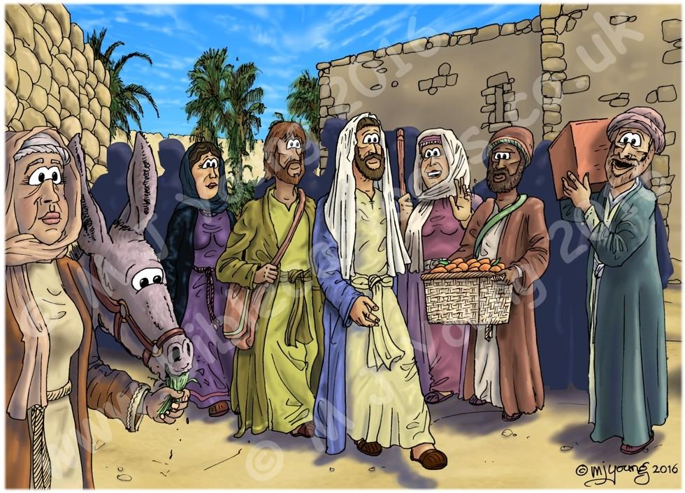 Luke 19 - Zacchaeus the tax collector - Scene 01 - Jesus enters Jericho 980x706px col