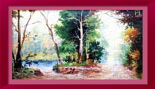 Dessin et peinture - vidéo 2381 : Une forêt verdoyante à la peinture acrylique.