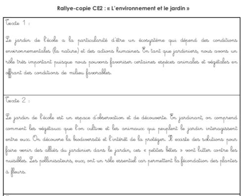 Rallye copie CE2 : «Environnement et jardin»