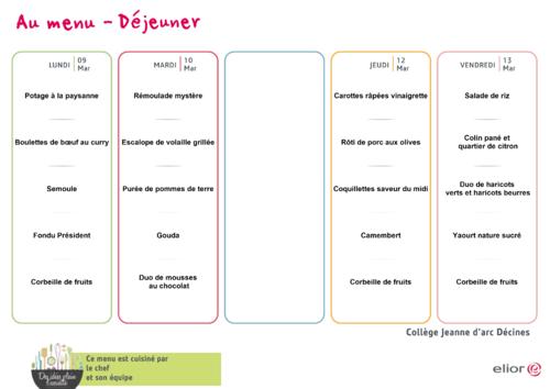 menu de la PS au CP du 09 au 13 mars