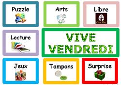 Fun friday ou Vive Vendredi, activité autonome, gestion classe, coloriage, puzzle,
