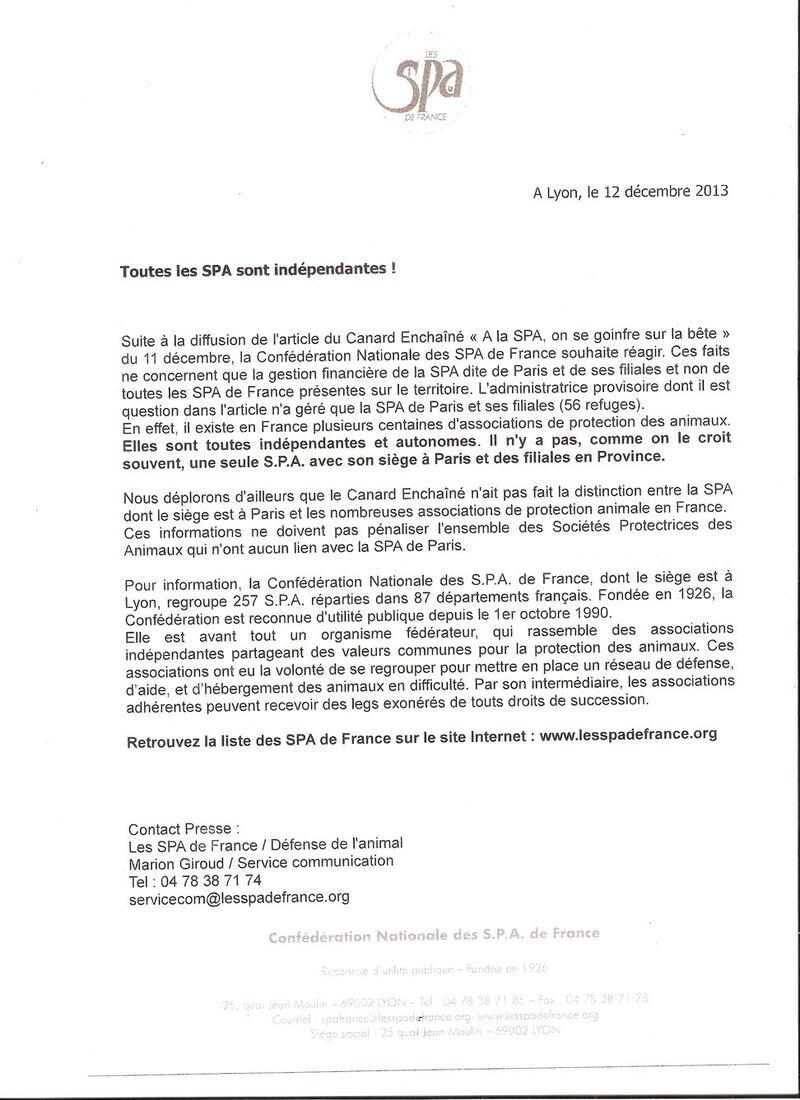 Réponse de la C.N.S.P.A. du 12/12/13