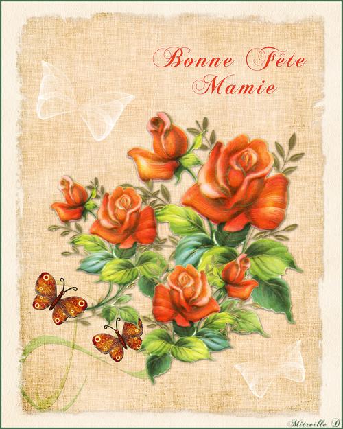 Carte Fête des Mamies Style Ancien