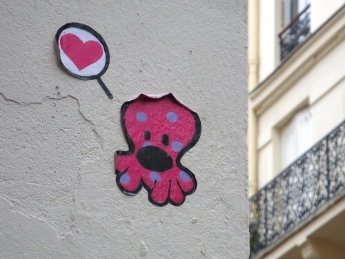 pieuvre Beaubourg street-art amour 2