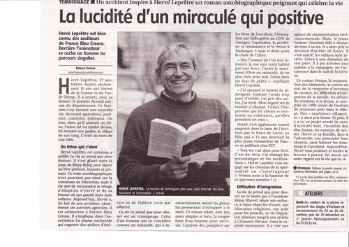 Article paru dans LA MONTAGNE le 18 décembre 2011