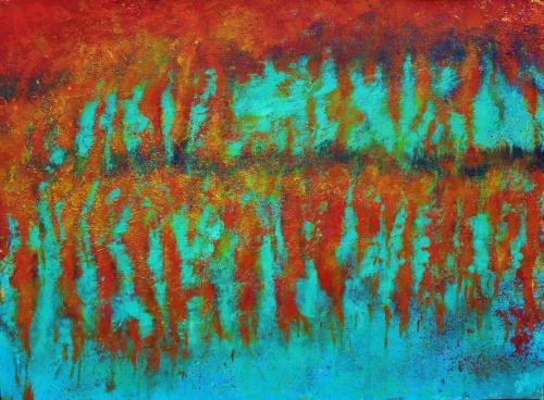 292. Coulée de la rouille. Acrylique sur toile de 0,80 x 0,65. Ocres naturels. Voir dans poèmes regard de Laurent. Juillet 2012