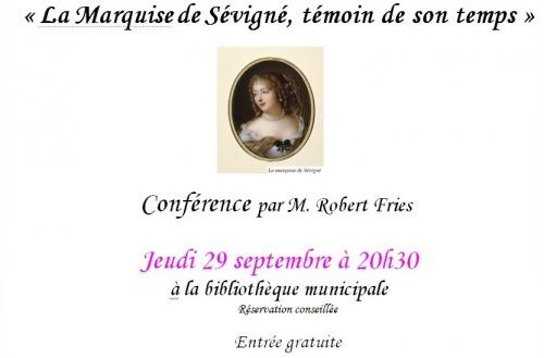 Une conférence de Robert Fries sur la Marquise de Sévigné à la Bibliothèque Municipale de Châtillon sur Seine..