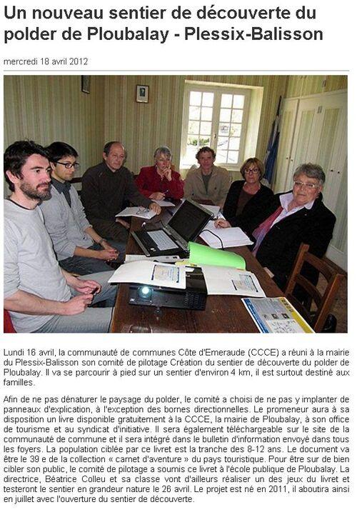 18/04/2012 - Un nouveau sentier de découverte du polder de Ploubalay - Plessix-Balisson