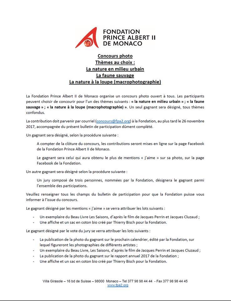 Concours photo de la Fondation Prince Albert II de Monaco