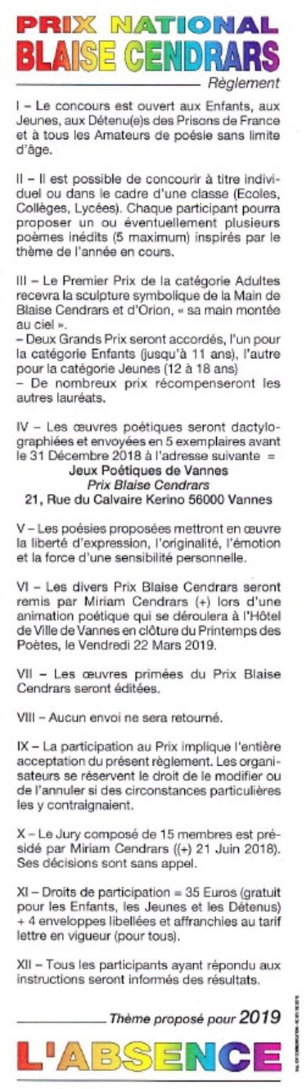 Concours Blaise cendrars