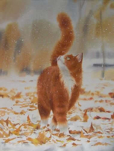 Tableau de chat : L'Automne roux