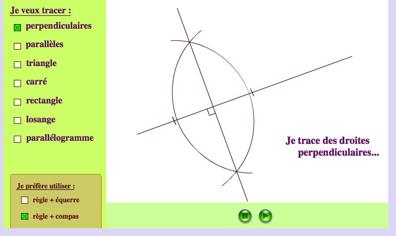 Constructions géométriques pas à pas en choisissant mes outils.