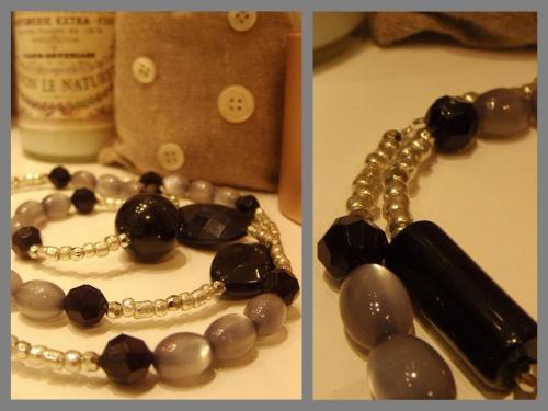Sautoir tendance en perles noires, grises et argentées réalisé par Sylvie LE BRIGANT